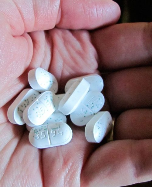 Ácido fólico na gestação - Uma mão com diversas pílulas brancas.
