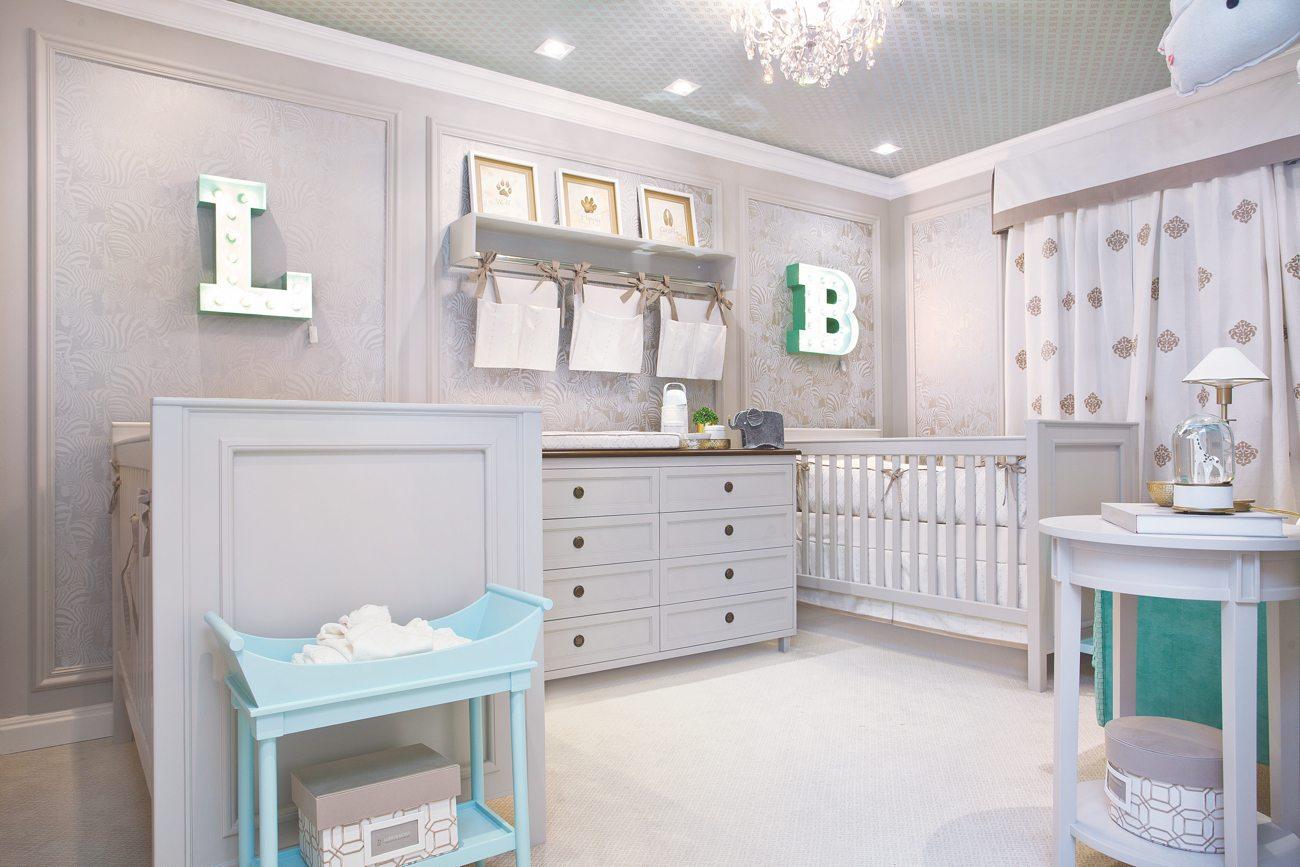 Quarto Para Beb S G Meos Encanto Em Dose Dupla Casa Ambiente Beb  ~ Decoração Escrivaninha Quarto E Quarto Bebe Verde E Bege