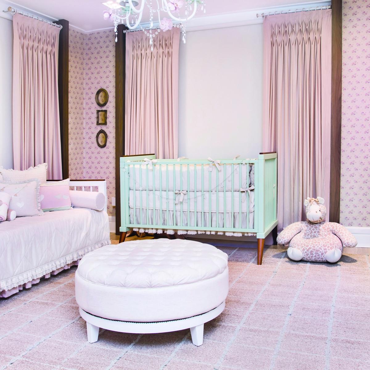 Quarto Verde Malva E Rosa Antigo Para Menina Casa Ambiente Beb  ~ Papel De Parede Para Quarto De Bebe Rosa E Marrom