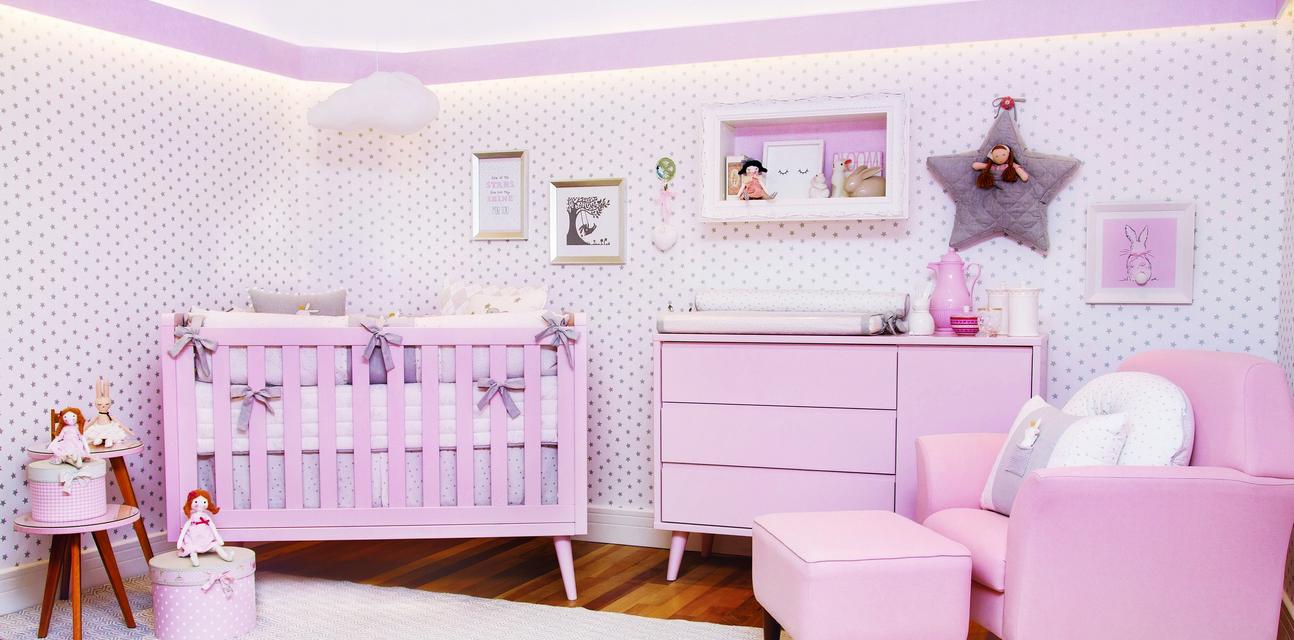 Quarto Com Coelhinhos Feminino Casa Ambiente Beb  ~ Tecido Para Parede Quarto Feminino