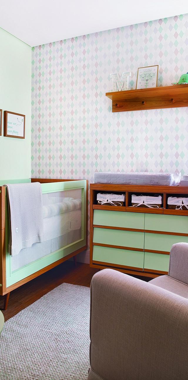 Papel De Parede Geom Trico Charme Retr Casa Ambiente Beb  ~ Quarto Com Cabeceira Estofada E Quarto Para Alugar Em Sp