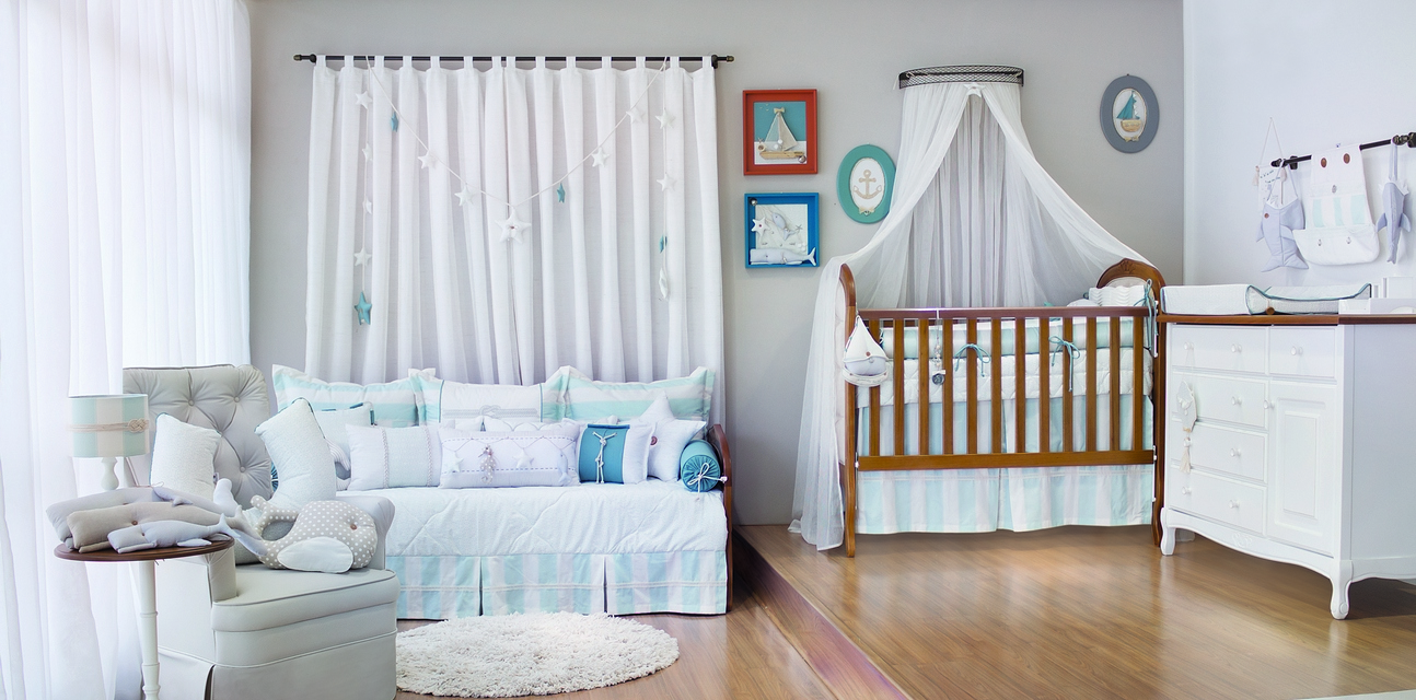 Tema N Utico D Charme Ao Quarto Do Beb Casa Ambiente Beb  ~ Quarto Com Cabeceira Estofada E Quarto Para Alugar Em Sp