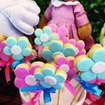 Chá com tema piquenique com pirulitos de biscoito em formato de flores rosas e azuis, ursinha com vestido ao fundo e toalha xadrez embaixo.
