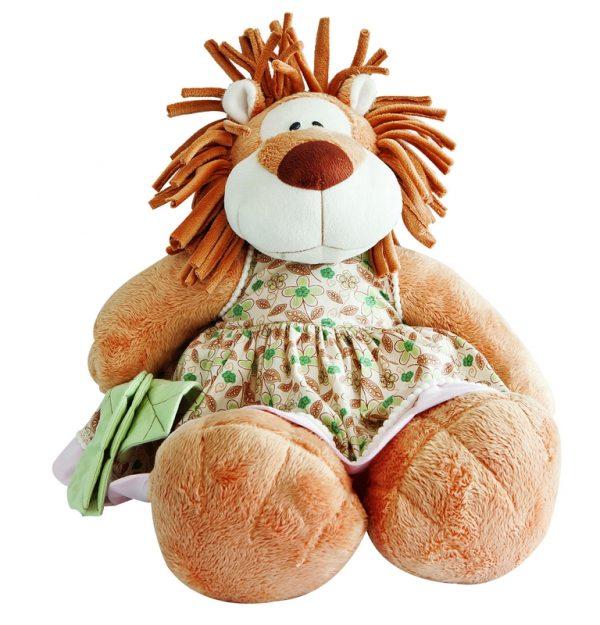 Acessorios para quartos de bebê com leoa de pelúcia com vestido estampado